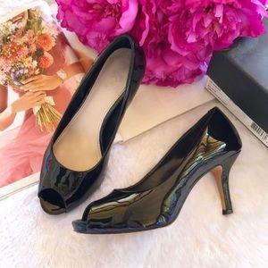 "{Vince Camuto} Black Patent Peep Toe ""Kira"" Heels"